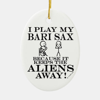 Keeps Aliens Away Bari Sax Ceramic Oval Ornament