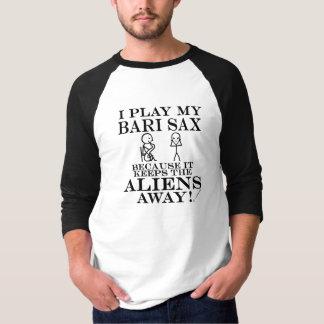 Keeps Aliens Away Bari Sax T-Shirt