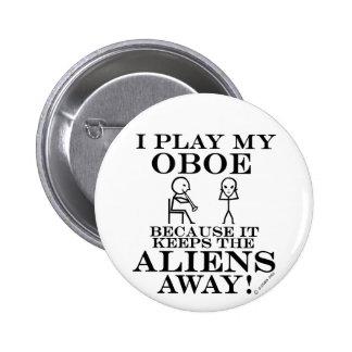 Keeps Aliens Away Oboe 2 Inch Round Button