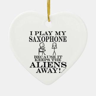 Keeps Aliens Away Saxophone Ceramic Heart Ornament