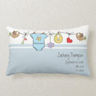 Keepsake Baby Blue Baby Clothes Lumbar Pillow