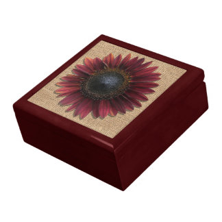 Keepsake Box - Burlap and Bordeaux Sunflower