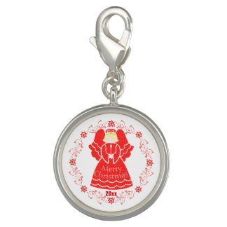 Keepsake Custom Red Christmas Angel with Candle Photo Charms