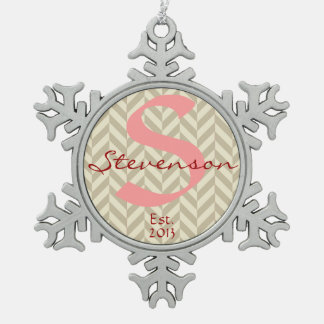 Keepsake Ornament Name & Year, Pink Gray Chevron