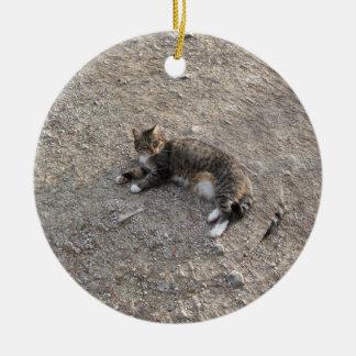 Keepsake Ornament: Tabby Cat with White Feet Ceramic Ornament