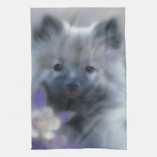 Keeshond and Columbine  - Dog Photograph Kitchen Towel