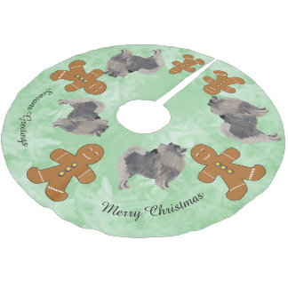 Keeshond and Gingerbred Man Brushed Polyester Tree Skirt