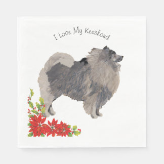 Keeshond and Poinsettia Paper Napkin