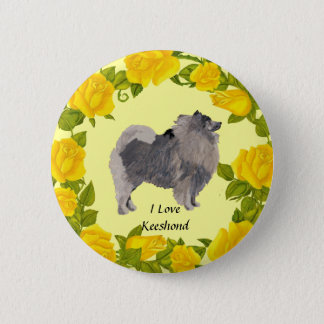 Keeshond and Yellow Roses 2 Inch Round Button