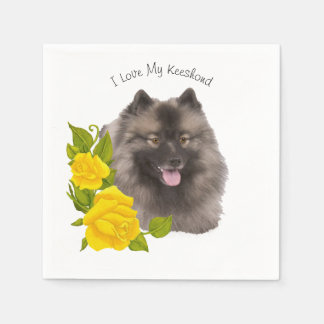 Keeshond and Yellow Roses Disposable Napkin