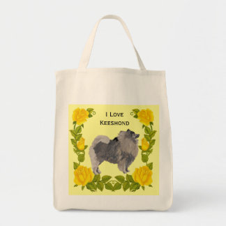 Keeshond and Yellow Roses Tote Bag