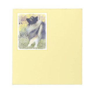 Keeshond Aspen Painting - Cute Original Dog Art Notepad