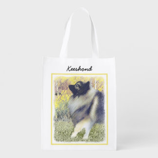 Keeshond Aspen Painting - Cute Original Dog Art Reusable Grocery Bag