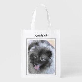 Keeshond Bailey Painting - Cute Original Dog Art Reusable Grocery Bag