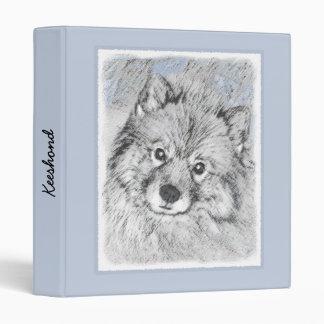 Keeshond Beth Painting - Cute Original Dog Art 3 Ring Binder