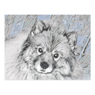 Keeshond Beth Painting - Cute Original Dog Art Postcard