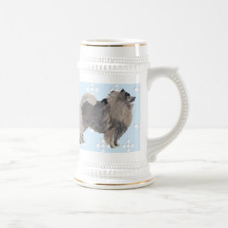 Keeshond Blue with White Diamond Beer Stein