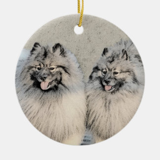 Keeshond Brothers 2 Painting - Original Dog Art Ceramic Ornament