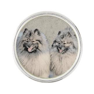 Keeshond Brothers 2 Painting - Original Dog Art Lapel Pin