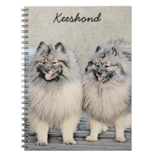 Keeshond Brothers 2 Painting - Original Dog Art Notebook