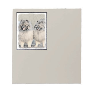 Keeshond Brothers 2 Painting - Original Dog Art Notepad