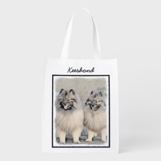 Keeshond Brothers 2 Painting - Original Dog Art Reusable Grocery Bag