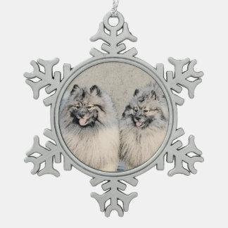 Keeshond Brothers 2 Painting - Original Dog Art Snowflake Pewter Christmas Ornament