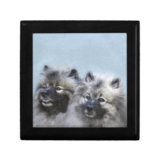 Keeshond Brothers Painting - Original Dog Art Gift Box