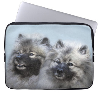 Keeshond Brothers Painting - Original Dog Art Laptop Sleeve