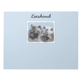 Keeshond Brothers Painting - Original Dog Art Notepad