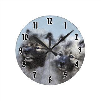 Keeshond Brothers Painting - Original Dog Art Round Clock