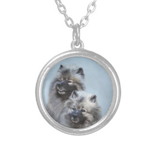 Keeshond Brothers Painting - Original Dog Art Silver Plated Necklace