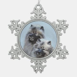 Keeshond Brothers Painting - Original Dog Art Snowflake Pewter Christmas Ornament