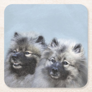 Keeshond Brothers Painting - Original Dog Art Square Paper Coaster