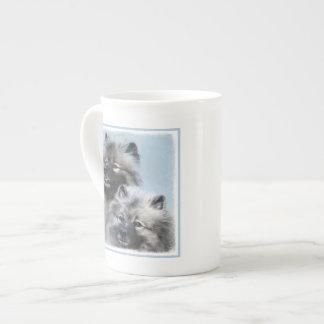 Keeshond Brothers Painting - Original Dog Art Tea Cup