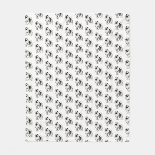 Keeshond Cartoon Dog Pattern Fleece Blanket