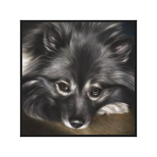"Keeshond digital painting titled ""Glamour"" Canvas Print"
