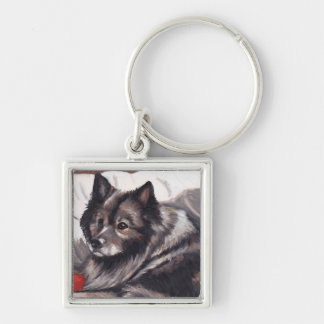Keeshond Dog Art Keychain