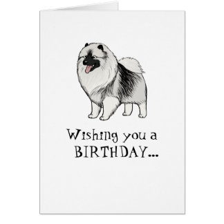 Keeshond Happy Birthday Card