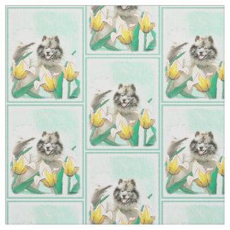 Keeshond in Tulips Painting - Cute Original Dog Ar Fabric