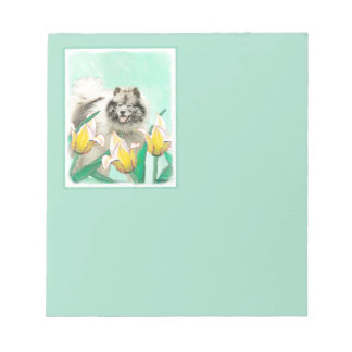 Keeshond in Tulips Painting - Cute Original Dog Ar Notepad