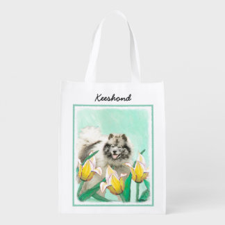 Keeshond in Tulips Painting - Cute Original Dog Ar Reusable Grocery Bag