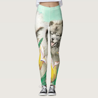 Keeshond in Tulips Painting - Original Dog Art Leggings
