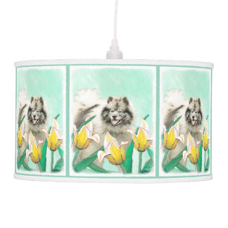 Keeshond in Tulips Pendant Lamp