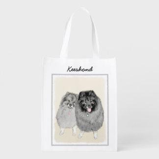 Keeshond Mom and Son Painting - Original Dog Art Reusable Grocery Bag