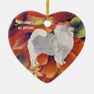 Keeshond on Autumn Floral Ceramic Ornament