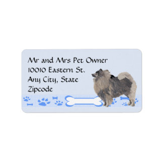 Keeshond on Blue Gingham Label