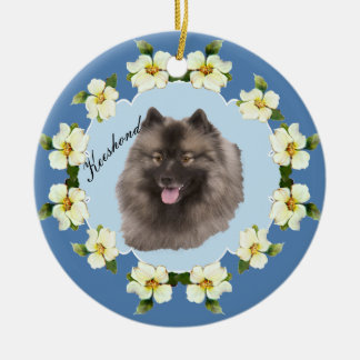 Keeshond on Blue with Dogwood Flowers Ceramic Ornament