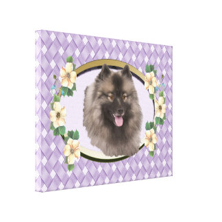 Keeshond on Lavender Weave Oval with Flowers Canvas Print