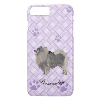 Keeshond on Lavender Weave with pawprints iPhone 7 Plus Case